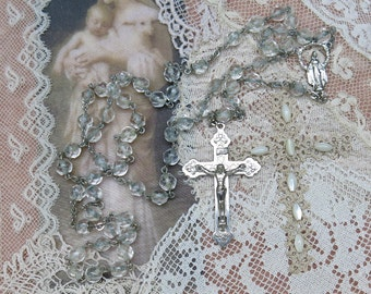 Vintage Rosary ... Clear Crystal Rosary ... Silver metal INRI crucifix, rivited and connector ... Religious, Prayer Beads, Jewelry