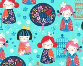Cherry Blossom Garden fabric by Robert Kaufman Fabrics- Cherry Blossom Dolls in Bright (aqua)-You Choose the Cuts