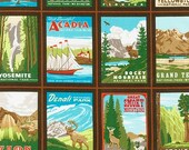 Explore America fabric by Robert Kaufman, Brown fabric,  Vintage Postcards in Brown. You choose the cut
