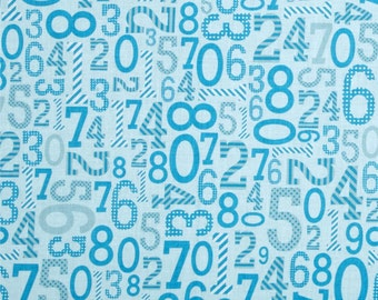 SALE Birthday Fabric, 6 dollars per yard, Numbers fabric, Riley Blake Designs, Numbers in Blue- You Choose the Cut. Free Shipping Available