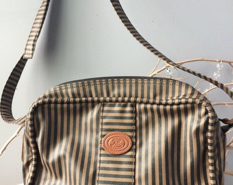 VINTAGE BAG...Allan Edward cross body handbag ~ taupe black striped classic ~ leather trim