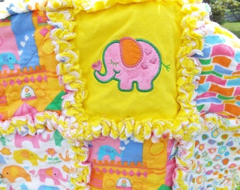 Rag Quilt for Baby - Flannel Rag Quilt - Elephants - Applique - Pink Blue Yellow - Crib Toddler Quilt