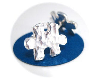 Hammered Silver Puzzle Piece Earrings, Puzzle Stud Earrings, Autism Awareness Jewelry