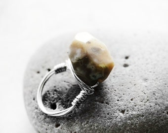 Natural Stone Ring, Wire Wrapped Ring, Agate Stone, Statement Ring, Cocktail Ring, Size 9, Silver, Melody Agate Stone Wire Ring