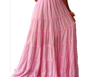 Custom made Soft cotton Boho Hippie Elastic waist Long Ruffle Dance Skirt S-XL (H)