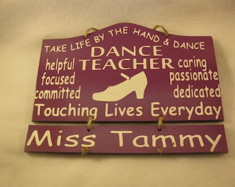 Personalized Wooden Tap Dance Teacher Wall Hanging