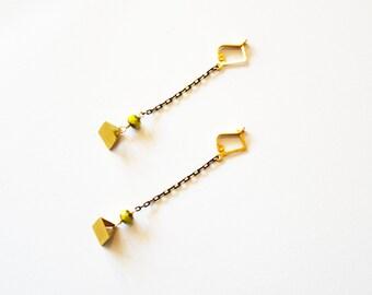 Long Gold Geometric Earrings / Long Chain Earrings / Long Gold Chain Earrings with Brass Geometric Minimalist Pyramid with Neon Yellow Beads