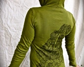 Green Mermaid Hoodie Fish Siren Ocean Nautical Stretchy Cotton Made in USA  Medium Only