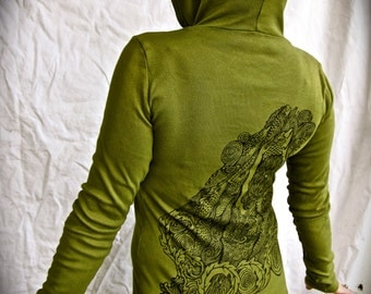 Green Mermaid Hoodie Fish Siren Ocean Nautical Stretchy Cotton Made in USA  Small Only