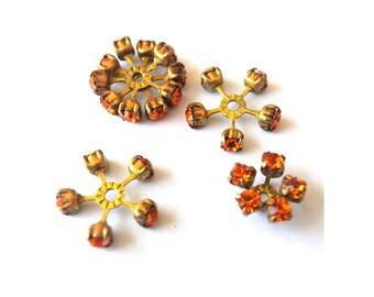 2 SWAROVSKI CRYSTAL beads, vintage,  flower shape brass setting with orange crystals- RARE