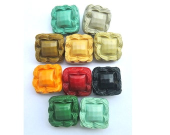 10 Antique vintage plastic buttons 10 colors square plastic shank buttons 21mm