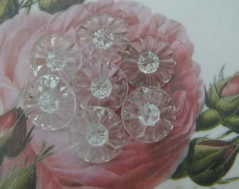 6 Vintage glass buttons unique rays design very light blue transparent 19mm beautiful for button jewelry