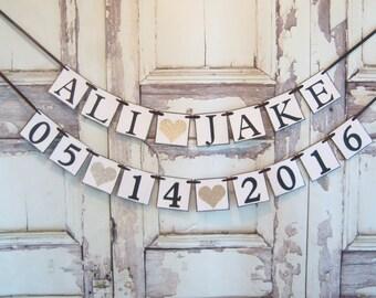 Bride Groom Name banner, bridal shower banner, bridal shower decorations, bridal shower decor, personalized,wedding date, save the date
