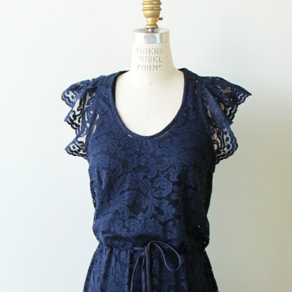 Boho Navy Lace Bridesmaid Cocktail Dress with flutter sleeves