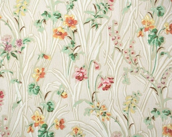 1930s Vintage Wallpaper by the Yard - Antique Floral Wallpaper with Yellow Orange Pink and Lavender Wildflowers
