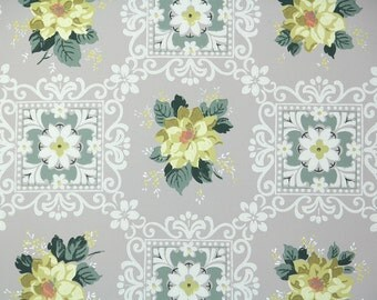 1940s Vintage Wallpaper by the Yard - Yellow Roses on Gray Geometric, Floral Wallpaper