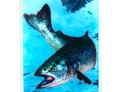 Salmon Glass cutting board, Leaping Salmon glass, Salmon Art, Salmon gift, NW gift, NW salmon gift, Fish art, fish gift
