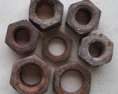 7 Huge Rusty Metal Hexagonal Nuts from Bolts Assemblage Welding 3D Mixed Media Sculpture Shadowbox Altered Art Shrine Supplies