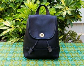 Vintage Black Coach Leather Backpack Rucksack Bag Purse Turn Lock Classic 9960 0218171