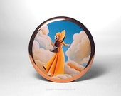 Pocket Mirror - Here Comes The Sun - Whimsical Girl - by Cindy Thornton