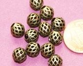 20 pcs of Antique brass round  filigree beads 8x7mm, antique bronze beads