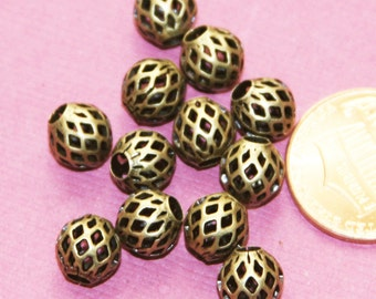 20 pcs of Antique brass round  filigree beads 8x7mm, antique bronze beads