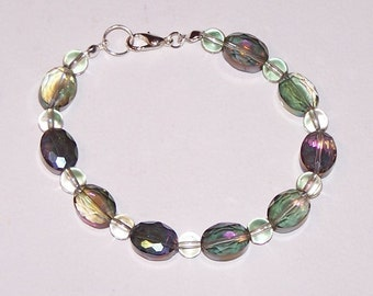 purple and green glass bracelet