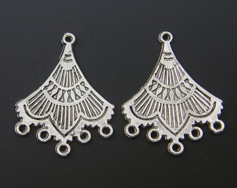 Antique Silver Fan Earring Finding Tribal Chandelier Earring Dangle Component Jewelry Supply |S20-16|2