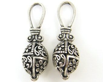 Tribal Antique Silver Flower Oval Earring Finding Filigree Oxidized Pendant Drop Charm |S20-5|2