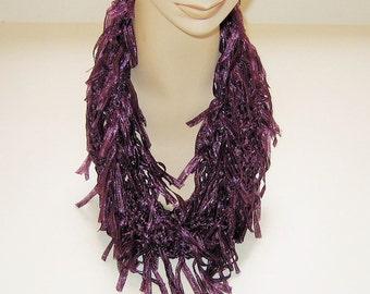 Infinity Scarf Purple Grape Ribbon Yarn