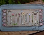 Simplicity Handpainted OOAK Primitive Wood Sign Tray Folk Art Terrye French