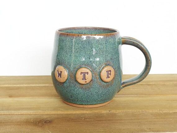 Pottery Mug in Sea Mist Glaze - Ceramic Coffee Cup - WTF