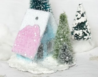 Vintage Putz Style Miniature Blue Glitter Sugar House with Pine Trees and a Candy Pink Roof Christmas Village Ornament