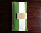 On-The-Go Diaper Clutch Green and White Vertical Striped Canvas - Personalized