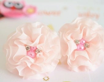New! 4pcs Handmade Chiffon flowers--light pink (FB1076)