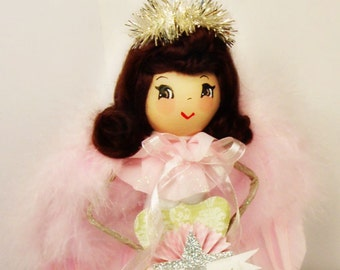 Angel tree topper ooak art doll shabby chic angel pastel Christmas brunette angel centerpiece vintage retro inspired pastel pink christmas