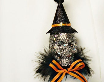 Halloween ornament silver skull orange and black vintage retro inspired party decor