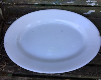 Antique English Ironstone Well Loved Large Oval Platter by J &G Meakin Hanley