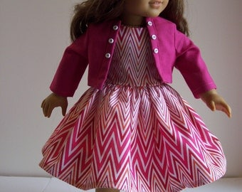Pink and White Chevron Dress-18 inch doll-American Girl