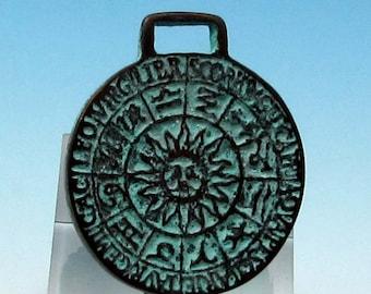 Zodiac Pendant, Green Patina, Mykonos Casting, 23 MM, M397