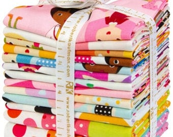 SALE 13 Pieces Fat Quarters Panel GIRL FRIENDS fabric from Robert Kaufman Fabrics by Ann Kelle