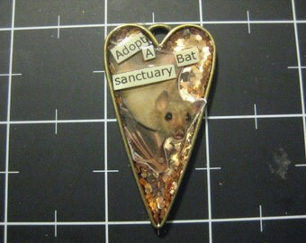 Adopt a Sanctuary Bat, Golden Glitter Peekaboo Pendant, 50% of the proceeds go to Bat World Sanctuary