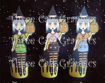 Tansy the Pumpkin Blossom Yellow Witch 3 Halloween Paper Dolls or Decorations Digital Download - PDF