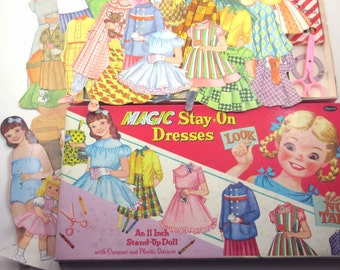 Vintage 1950s Magic Stay On Dresses Mary Anne Paper Doll and Outfits in Original Box