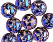Glass Cabochons Snakeskin Mosaic 11mm Helio Blue (2) GC102