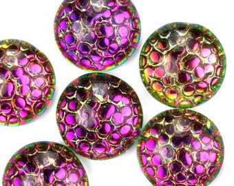 Glass Cabochons Snakeskin Mosaic 13mm Helio Red (2) GC103