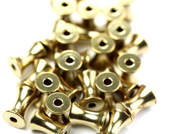 Metal Beads Concave Tube Raw Brass 8x6mm (10) M040