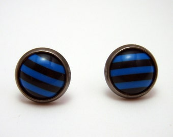 Black and electric blue striped post earrings SMALL