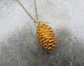 Real Cone Pendant Necklace - Pine Cone - 24k Gold