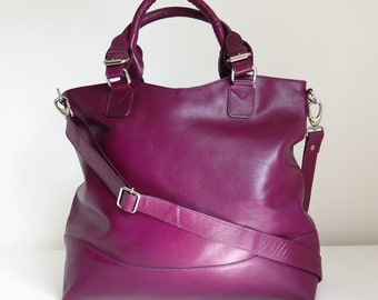 Purple Leather Tote, Leather Purse, Purple leather Handbag, Leather Handbag